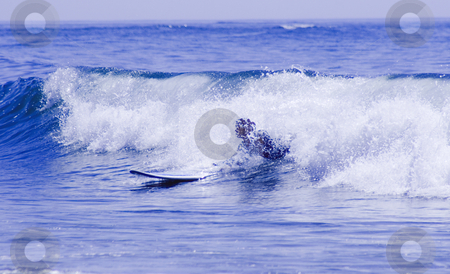 Surf stock photo, Woman surfing inside the wave by Marc Torrell