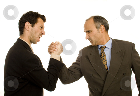 Business man stock photo, Business man pushing fight white isolate by Marc Torrell