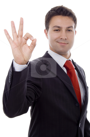 Ok sign stock photo, Business man with ok signs by Marc Torrell