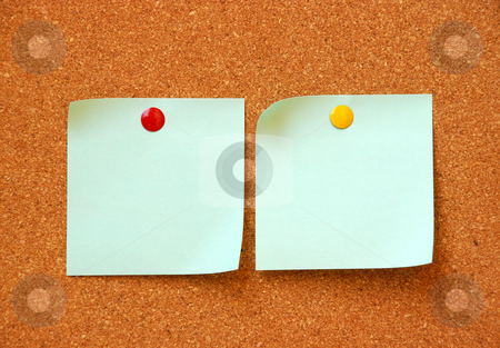 Two empty note pads stock photo, Two empty note pads on cork board by Dragana Jokmanovic