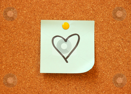 Note pad with heart drawing stock photo, Note pad with heart drawing on cork board by Dragana Jokmanovic