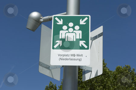 Sign Mercedes-Benz-world stock photo, Meeting point sign on mast by Andreas Brenner