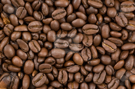 Coffee beans background. stock photo, Coffee beans background, close up studio shot. by Pablo Caridad