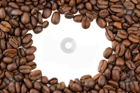 Coffee beans border. stock photo, Coffee beans forming a border with copy space, white background. by Pablo Caridad