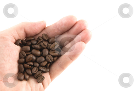 Handful of coffee beans stock photo, Handful of coffee beans, white background, close up. by Pablo Caridad