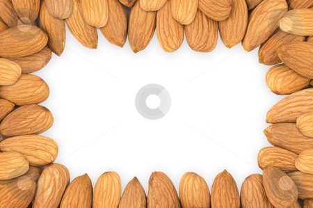 Almond nuts frame, clipping path. stock photo, Almond nuts forming a frame, in white background, clipping path excludes the shadow. by Pablo Caridad