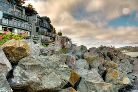 Vacation Houses At Coast stock photo, Luxury houses at Sausalito face a ocean by Hieng Ling Tie