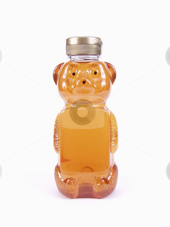 Honey Bear Bottle stock photo, A full Honey Bear Bottle and silver cap isolated on a white background by Robert Gebbie
