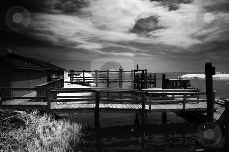 Fort Delaware Docks stock photo, Ferry docks at Fort Delaware. by Eric Lukavsky
