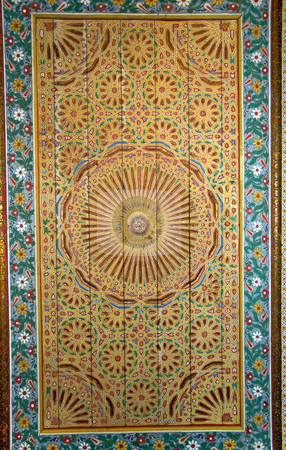 Ornate moroccan ceiling background stock photo, A moroccan style ceiling of an old palace in Marrakesh by Roberto Marinello