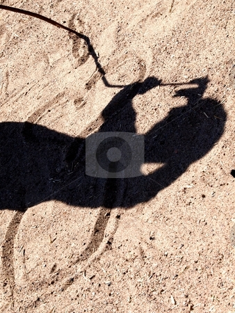 Drawing in the sand stock photo, A person is drawing in the dry sand with a wooden stick or branch a shadow is seen from the person whom is doing it. by Arve Bettum