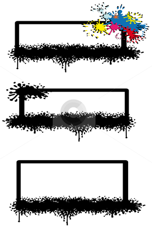 Three inkblot frames stock vector clipart, Three inkblot frames in black and one with colors by Karin Claus