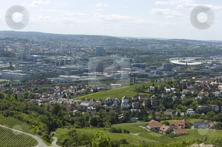 Stuttgart stock photo, Stuttgart, Germany, industrial zone viewn from hill by Andreas Brenner