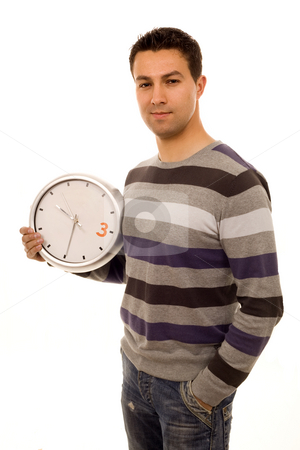 Clock casual man stock photo, Young casual man with clock white isolate by Marc Torrell