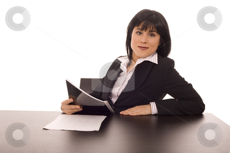 Woman on a desk stock photo, Busines woman on a office desk white isolate by Marc Torrell