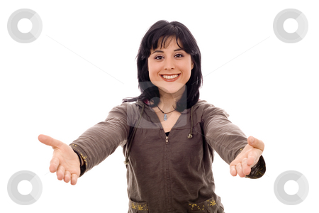 Woman stock photo, Young smiling woman with with open arms isolate by Marc Torrell