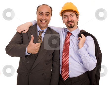Two construction business men stock photo, Two business construction men white isolate by Marc Torrell