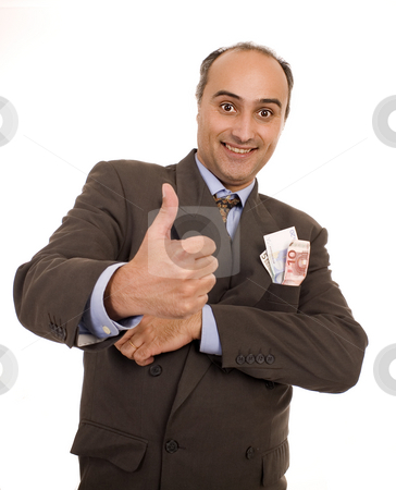 Business money man stock photo, Business man ok finger with money white isolate by Marc Torrell