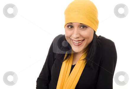 Beautiful smiling woman stock photo, Young beautiful smiling woman with shawl by Marc Torrell