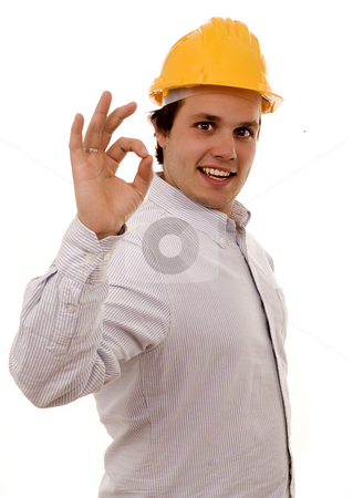 Man helmet stock photo, Young man whith yellow helmet white isolate by Marc Torrell