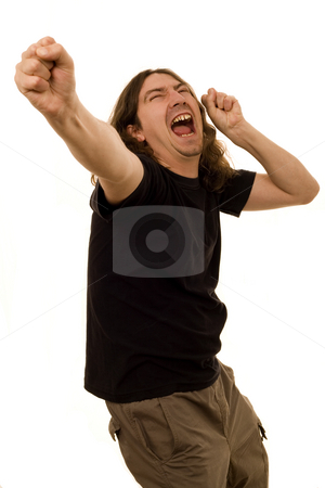 Rockandroller stock photo, Young crazy man singing and dancing rock and roll white isolate by Marc Torrell