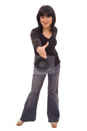 Casual cheers stock photo, Casual woman shaking hand  white isolate by Marc Torrell