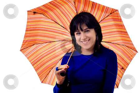 Woman and umbrella stock photo, Young woman and umbrella white isolate by Marc Torrell