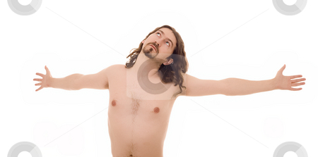 Nude man stock photo, Nude man on cross as christ by Marc Torrell