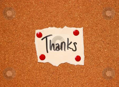 Thanks message stock photo, Thanks message on cork board by Dragana Jokmanovic