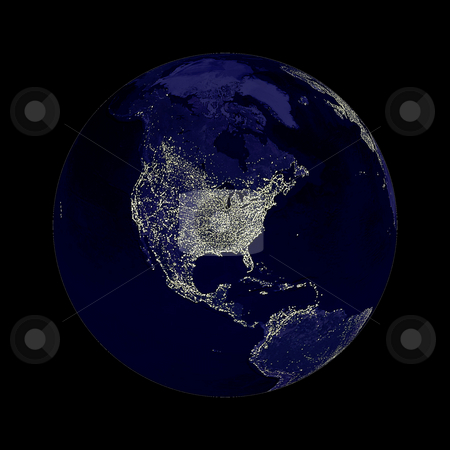 Earth Globe Lights stock photo, Earth globe with north America lights showing on black background.  Some components of this image are provided courtesy of NASA, and have been found at visibleearth.nasa.gov by Henrik Lehnerer