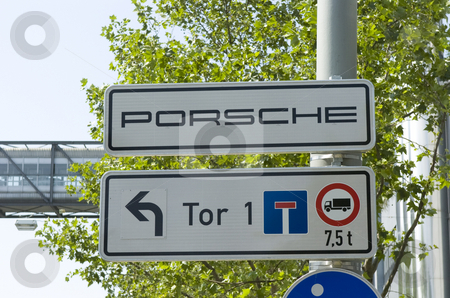 Porsche signpost stock photo, Porsche signpost by Andreas Brenner