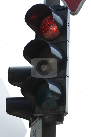 Red traffic light stock photo, Red traffic light by Andreas Brenner