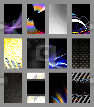 Business Card Templates Collection stock photo, An assortment of 12 vertical modern business card templates that are print ready and fully customizable. Easily add your text and logo. These include .25 inch bleed and trim to standard size. by Todd Arena