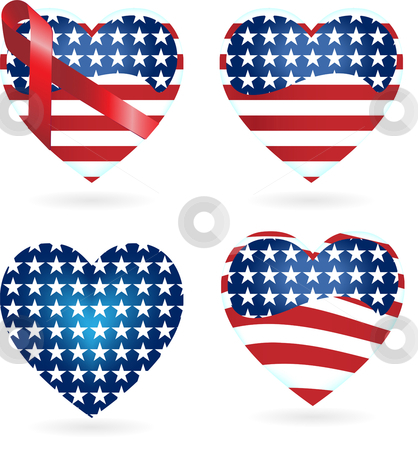 American Hearts with Ribbons stock vector clipart, Hearts with Ribbons with the United States of America flag colors by AUGUSTO CABRAL