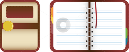 Beautiful Leather Organizer stock vector clipart, Leather organizer/notebook with colored tabs. Add your text by gubh83