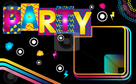 Disco Stripes 5 stock vector clipart, Music Party Funky Retro Image with Stripes by Augusto Cabral Graphiste Rennes