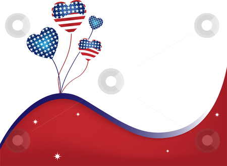 USA Wavy Background stock vector clipart, USA Balloons and Stars Background Fourth of July by Augusto Cabral Graphiste Rennes