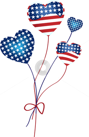 American Hearts Balloons stock vector clipart, Heart Shaped Balloons with the United States of America flag colors by gubh83