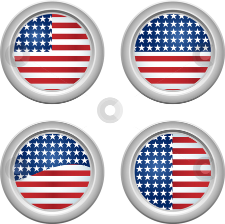 USA Buttons stock vector clipart, USA Stars and Stripes Buttons Fourth of July by Augusto Cabral Graphiste Rennes