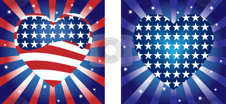 United States Hearts Background stock vector clipart, Hearts  Background with Stars and Stripe in american flag colors by Augusto Cabral Graphiste Rennes