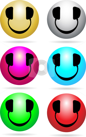 Smiley DJ Neon stock vector clipart, Glossy Smiley icons with headphones in place of eyes and mouth by Augusto Cabral Graphiste Rennes