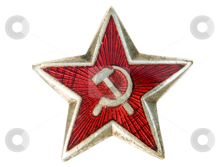 Communist star stock photo, Old communist star with sickle and hammer isolated on a white background. by Sinisa Botas