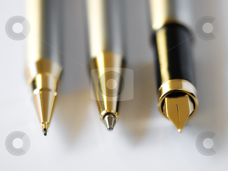 Pens stock photo, Closeup of  three common types of pens in almost every office. by Sinisa Botas