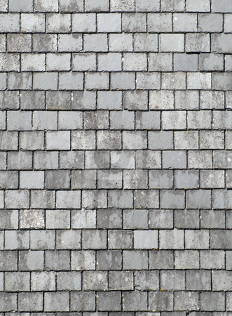 Old gray roof slates close up. stock photo, Old gray roof slates close up. by Stephen Rees