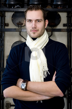 Designer portrait stock photo, Portrait of a smart looking designer with his arms crossed by Corepics VOF