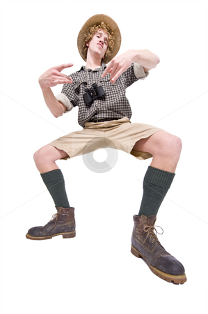 Funky Jungle Dude stock photo, A man in jungle outfit acting funky and making funny moves by Corepics VOF