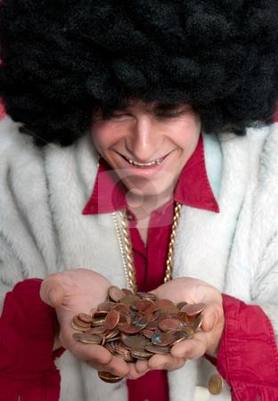 Pimp stock photo, Begging man recieving change. by Corepics VOF