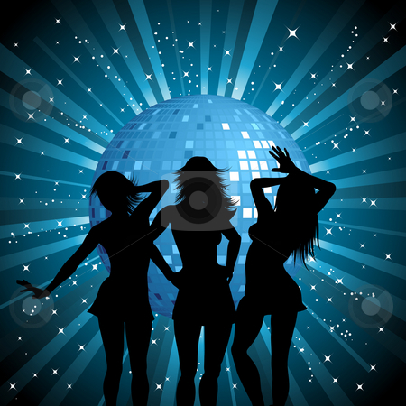 Disco females stock photo, Silhouettes of sexy females on mirror ball background by Kirsty Pargeter