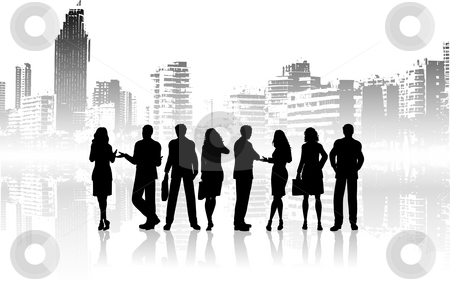 City people stock photo, Silhouettes of business people against grunge city background by Kirsty Pargeter