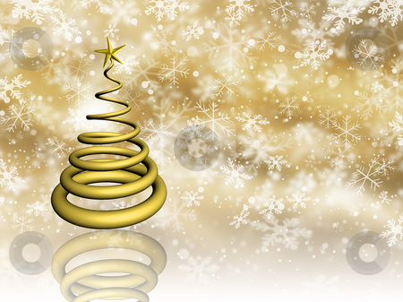 Golden Christmas stock photo, Christmas tree on snowflake background by Kirsty Pargeter